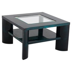 Giorgio Tura Coffee Table in Green Parchment and Brass