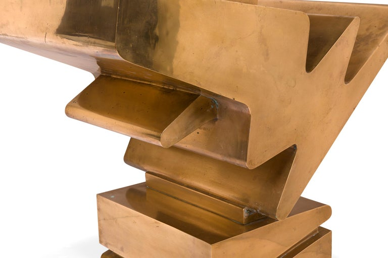 Brass Giorgio Zennaro Signed Patinated Bronze Sculpture, Italy, 1972 For Sale