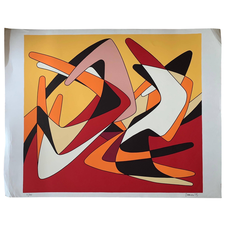 Giorgio Zennaro Vintage Modern Rare Silkscreen # 2, 1972 Venice, Italy Gallery