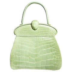 Giorgio's of Palm Beach Celery Green Alligator Top Handle Bag