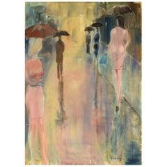 """Gios Di Agostini, Italy, Oil on Canvas, """"Umbrelli No 1"""", 1980s"""