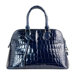 Giòsa Milano Blue Crocodile Leather Handbag