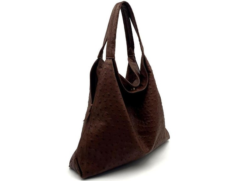 Black Giosa Milano Brown Ostrich Shoulder Bag For Sale