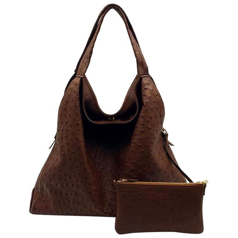 Giosa Milano Brown Ostrich Shoulder Bag For Sale