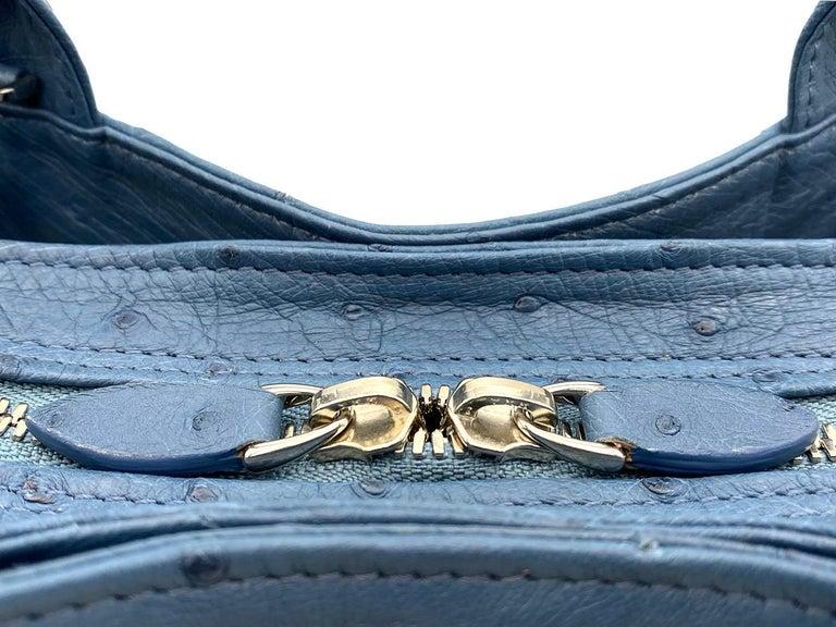 Giòsa Milano Jeans Ostrich Bag In New Condition For Sale In Gazzaniga (BG), IT