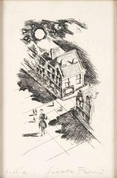 Village at night - Original Etching by Giosetta Fioroni - Late 20th Century