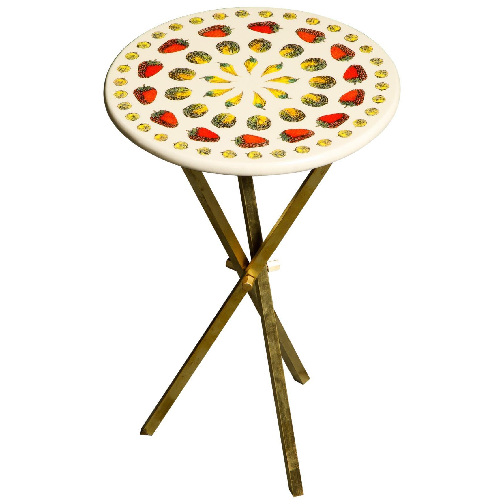 """""""Giostra di Frutta"""" Brass Tripod Side Table by Piero Fornasetti, Signed"""