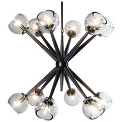 Giotto Burst (6.6) Chandelier in Walnut and Brass Finishes By Matthew Fairbank