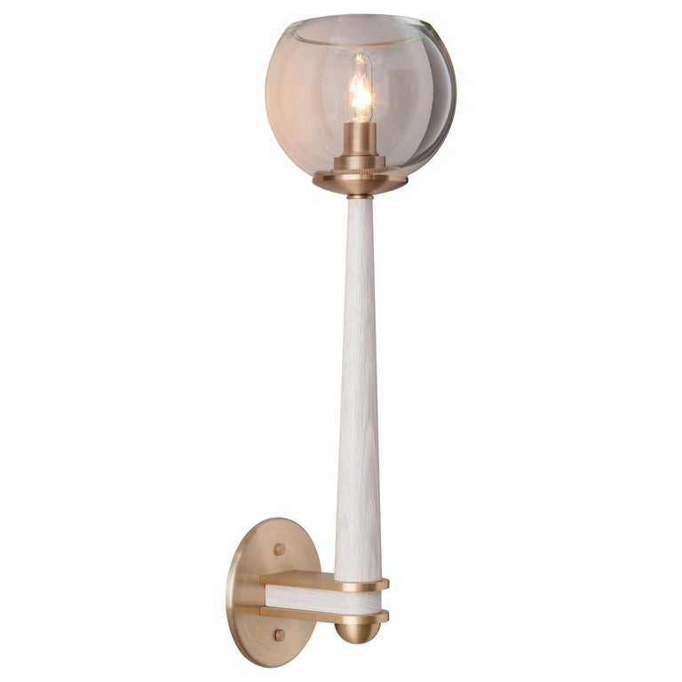 Giotto Sconce 'Classic' in Walnut and Brass Finishes by Matthew Fairbank For Sale