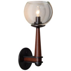 Giotto Sconce (Standard) in Walnut and Brass Finishes By Matthew Fairbank