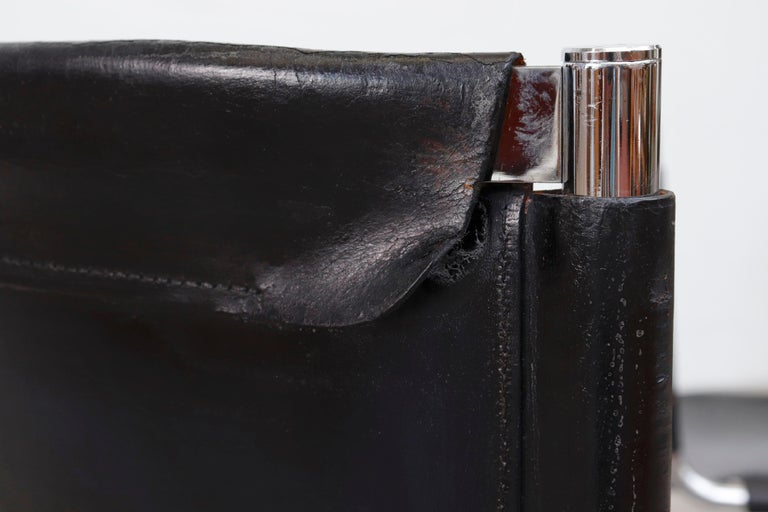 Giotto Stoppino Black Leather Cantilevered