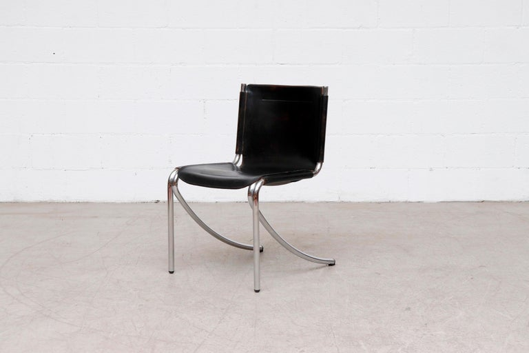 Mid-Century Modern Giotto Stoppino Black Leather Cantilevered