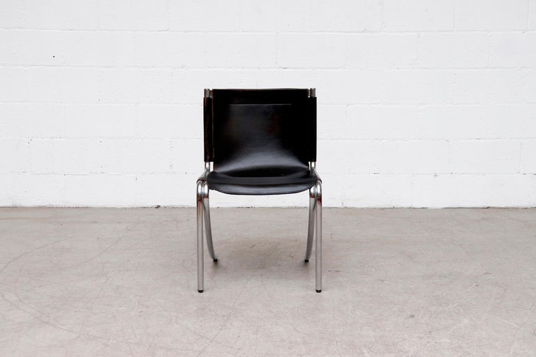 Italian Giotto Stoppino Black Leather Cantilevered