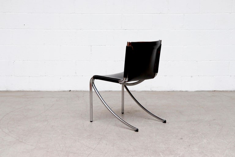 Late 20th Century Giotto Stoppino Black Leather Cantilevered