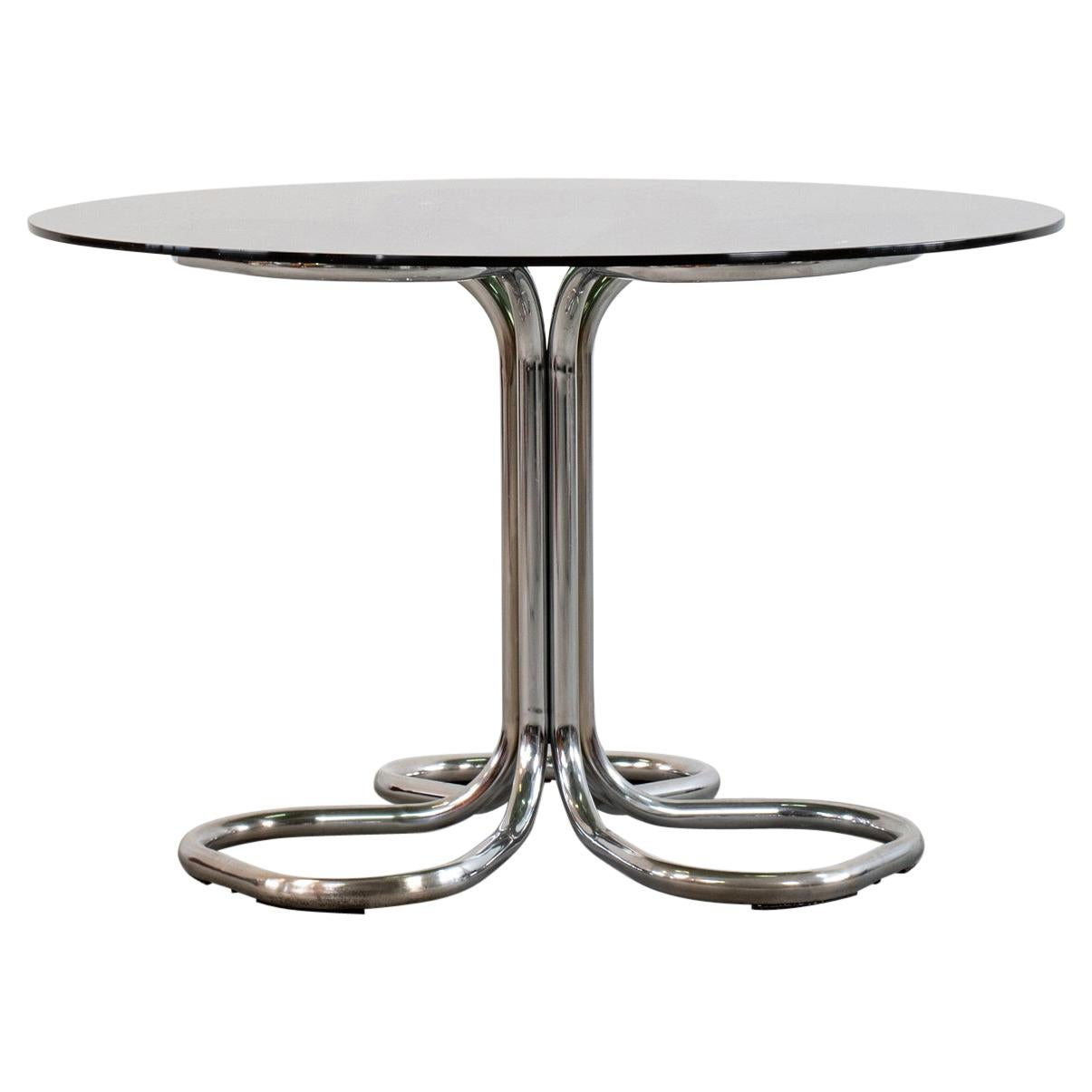 Giotto Stoppino Dining Round Table in Steel and Glass Italian Manufacture, 1970s