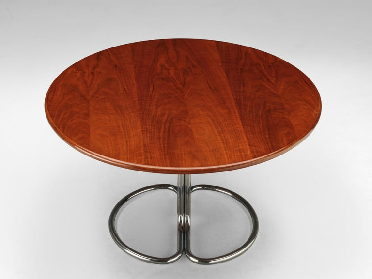 Mid-Century Modern Giotto Stoppino for Bernini Round Dining Table 'Maia' in Walnut and Metal For Sale