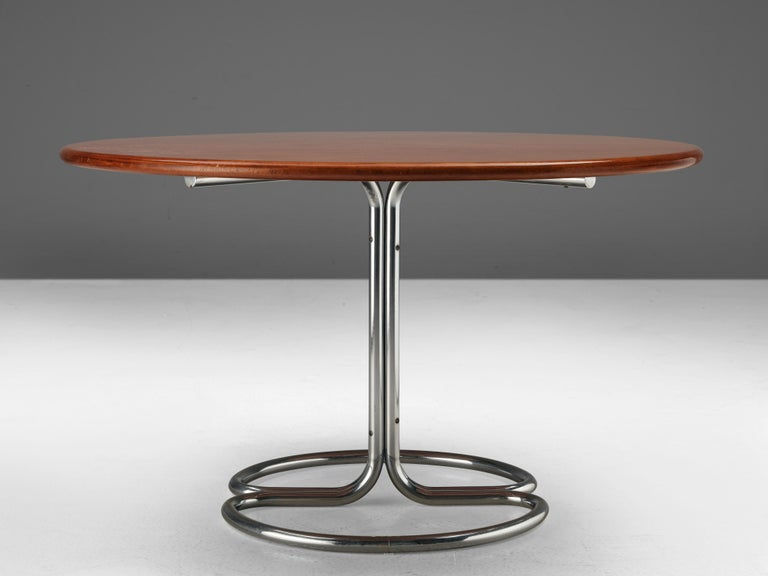 Mid-20th Century Giotto Stoppino for Bernini Round Dining Table 'Maia' in Walnut and Metal For Sale