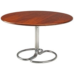 Giotto Stoppino for Bernini Round Dining Table 'Maia' in Walnut and Metal