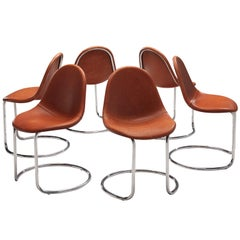 Giotto Stoppino for Bernini Set of Six 'Maia' Dining Chairs in Cognac Leather