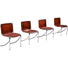 Giotto Stoppino Leather and Chrome Dining Chairs Model Jot