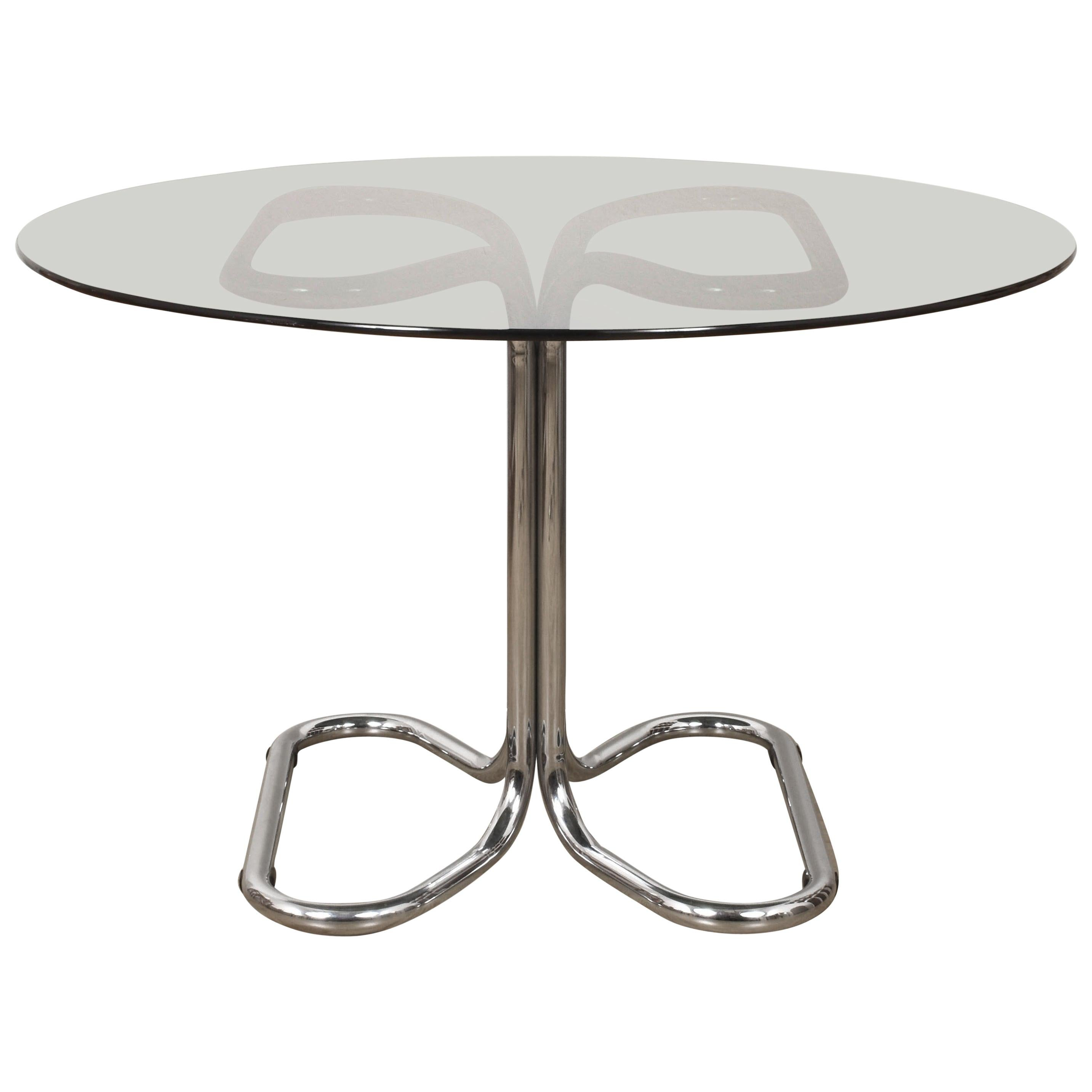 Giotto Stoppino Midcentury Chrome Base and Smoked Glass Top Dining Table, 1970s