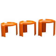 Giotto Stoppino Orange Plastic Interlocking Coffee Tables for Kartell, 1970s