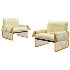 Giotto Stoppino Pair of Armchairs in Yellow Metal