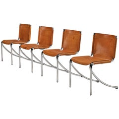 Giotto Stoppino Set of Four Dining Chairs Model 'Jot' in Cognac Leather