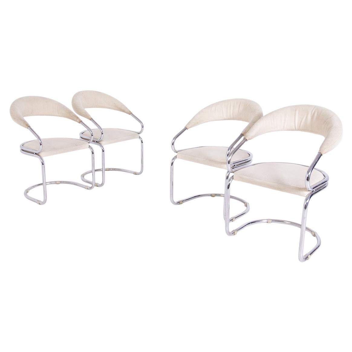 Giotto Stoppino Set of Four Italian Chairs in Steel and Beige Cotton