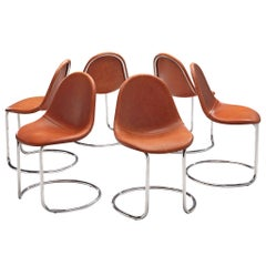 Giotto Stoppino Set of Six 'Maya' Chairs in Cognac Leather