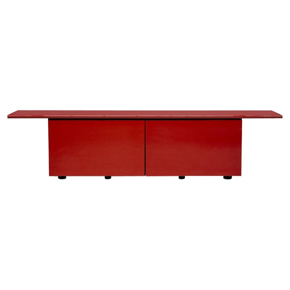 Giotto Stoppino Sheraton Red Wooden Sideboard Acerbis, 1977, Italy