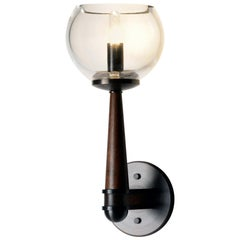 Giotto Wall Sconce in Walnut and Brass Finishes By Matthew Fairbank