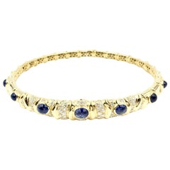 Giovane Blue Sapphire and Diamond 18 Karat Flexible Collar Necklace