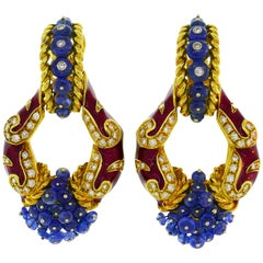Giovane Enamel Yellow Gold Earrings with Blue Sapphire Diamond, Day and Night