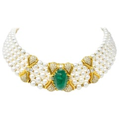 Giovanè Italian 41.50 Carats Emerald Diamond Pearl 18 Karat Gold Collar Necklace
