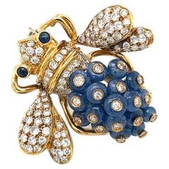 Giovane Italy 18KT Gold, 7.35 Carat Sapphire and 1.53 Carat Diamond Bee Brooch