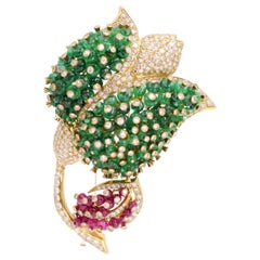 Giovani Gemstone and Diamond Brooch