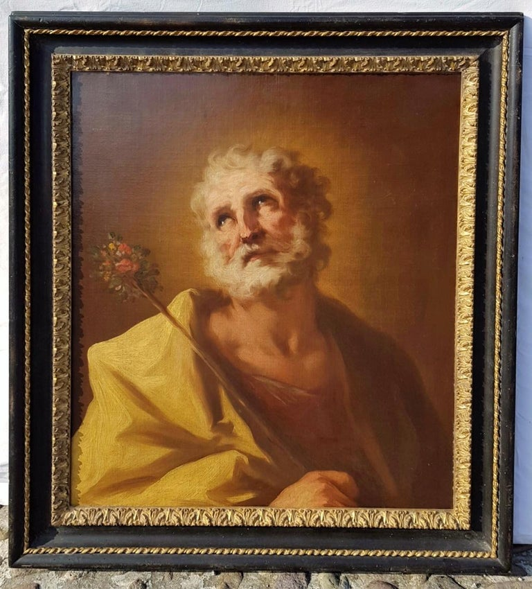 18th century Italian figurative painting Saint - Venetian oil on canvas Venice - Rococo Painting by Giovanni Antonio Pellegrini