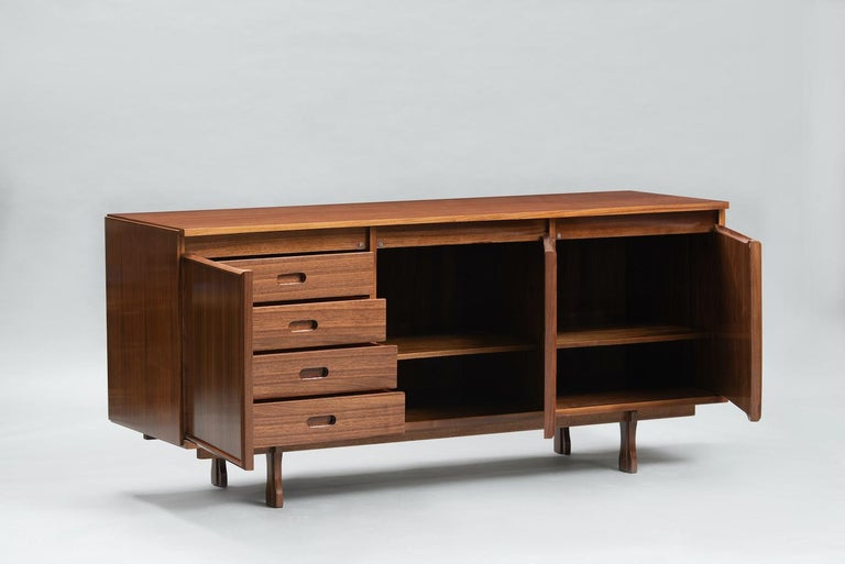 Giovanni Ausenda walnut sideboard for Stilwood, this item is finished on the back so it can be used as room divider. Bibliography: Abitare 58 (Ottobre 1967), publicità.