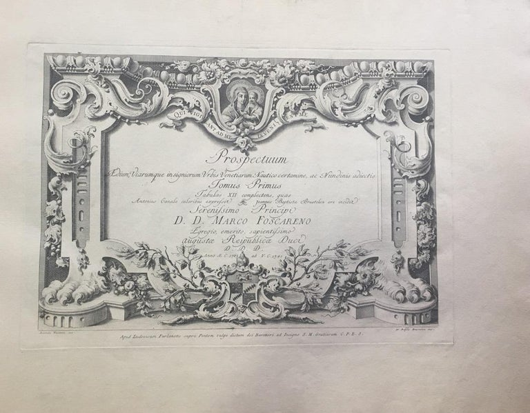 """Complete series of 20 original black and white etchings on oblong folio and laid paper, in first state before numeration. On frontispiece with date """"1763"""", dedication to Prince Marco Foscareno and name and address of Ludovico Furlanetto. Each plate"""