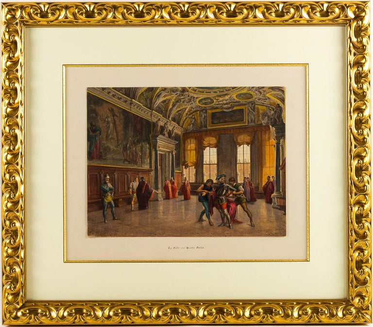 Giovanni Battista Della Libera Rare Set of Six Watercolor Views of Doge's Palace 6