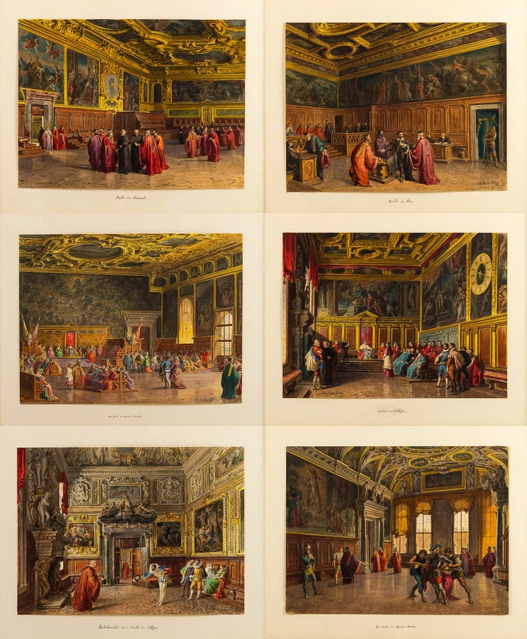 Giovanni Battista Della Libera Rare Set of Six Watercolor Views of Doge's Palace 12