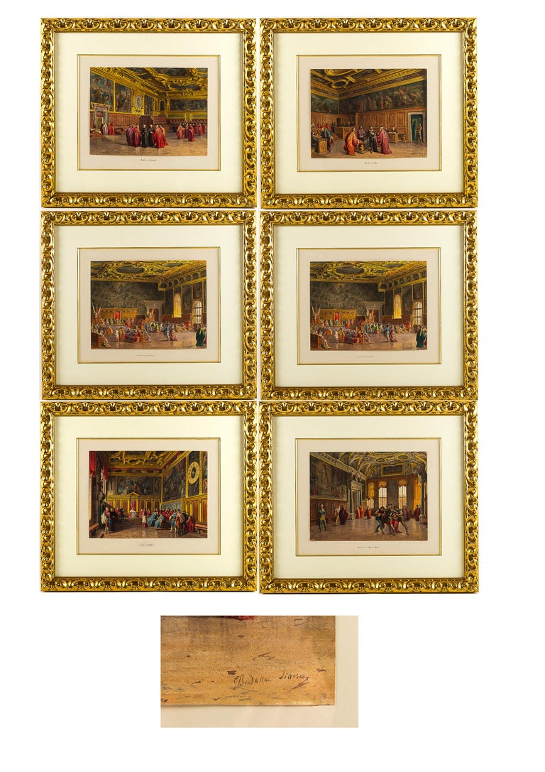 Giovanni Battista Della Libera Rare set of six watercolor views of Doge's Palace in Venice, circa 1850