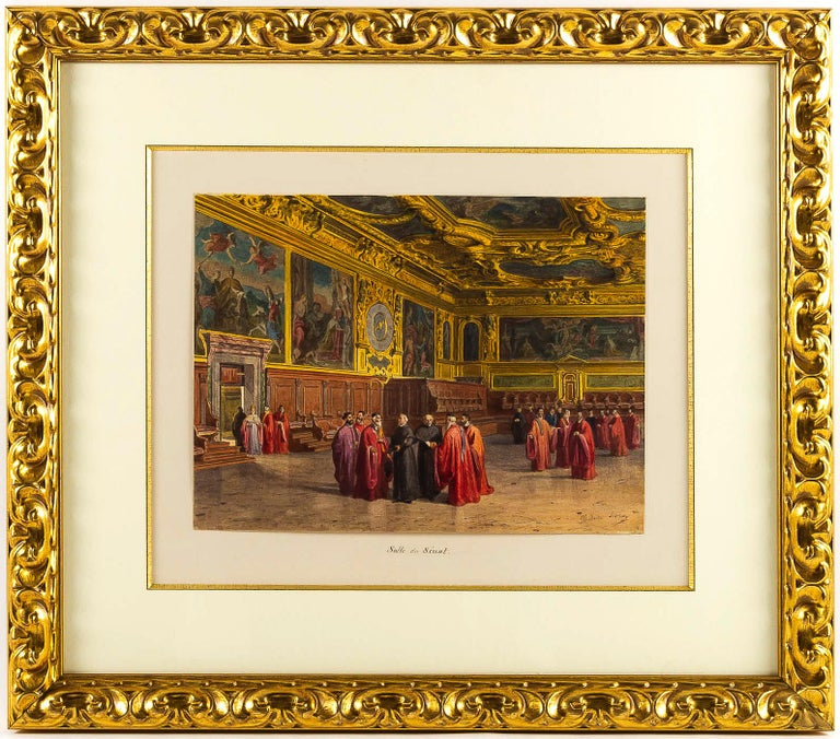 Italian Giovanni Battista Della Libera Rare Set of Six Watercolor Views of Doge's Palace