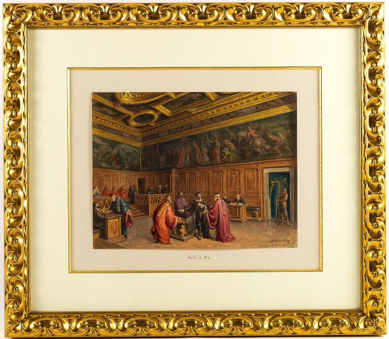 Giovanni Battista Della Libera Rare Set of Six Watercolor Views of Doge's Palace In Excellent Condition In Saint Ouen, FR