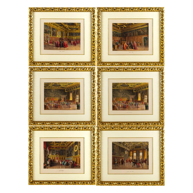 Giovanni Battista Della Libera Rare Set of Six Watercolor Views of Doge's Palace