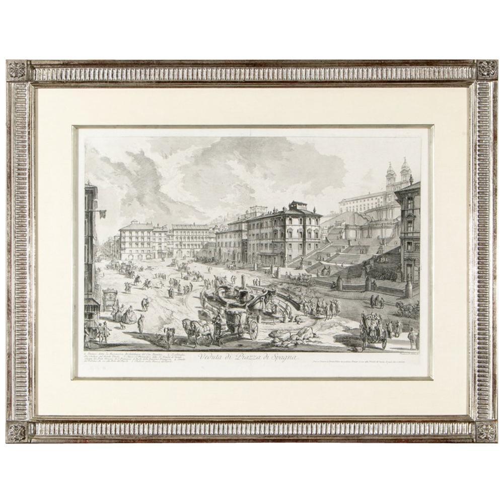 Giovanni Battista Piranesi, 18th Century Engraving, Veduta Di Piazza Di Spagna