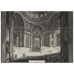 Giovanni Battista Piranesi etching 'St Peter's Basilica', 1st State, circa 1773