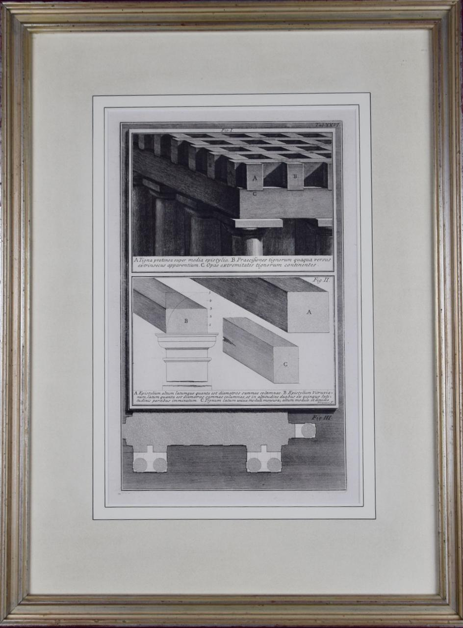 18th Century Etching of Ancient Roman Architectural Objects by Giovanni Piranesi