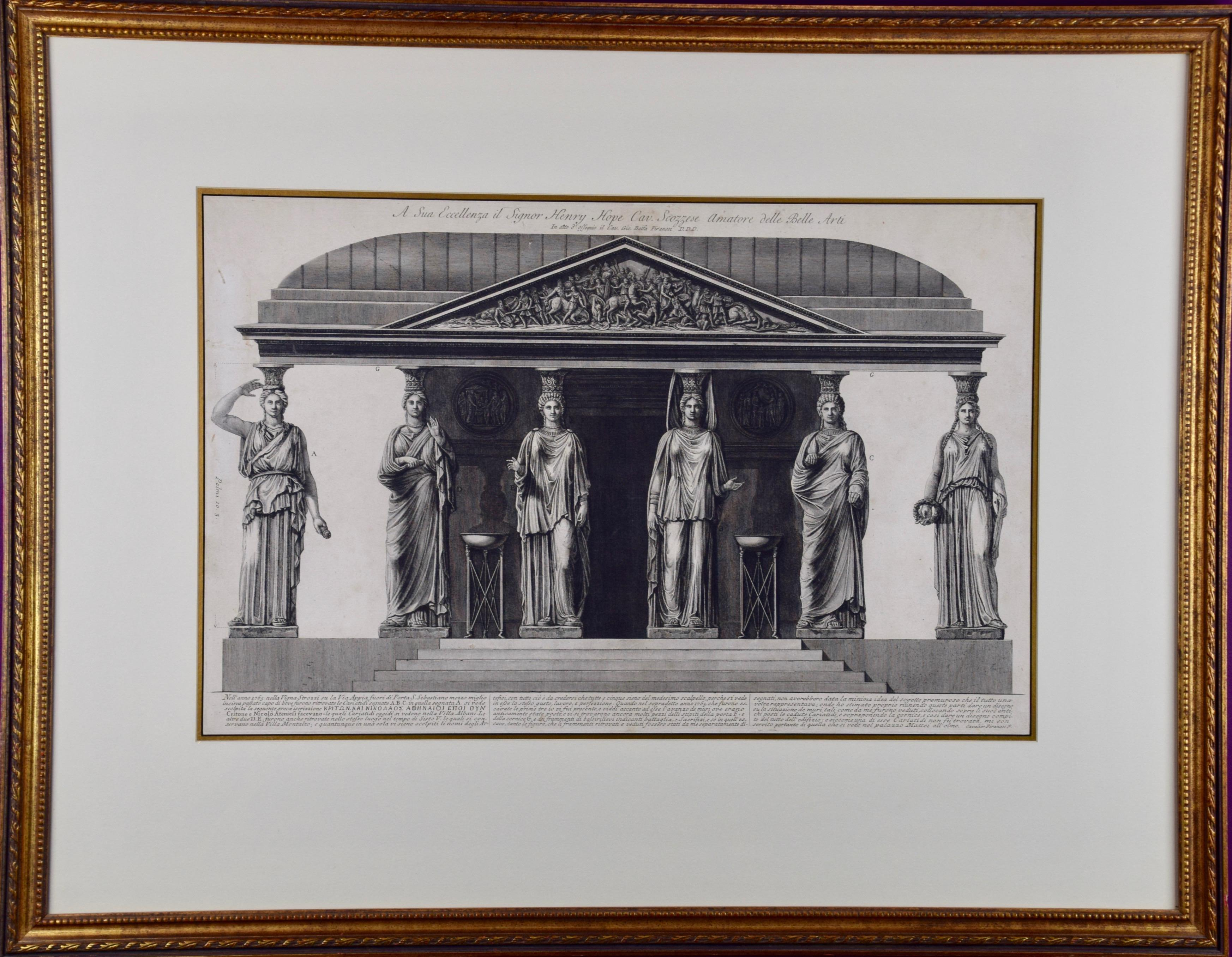 """""""A sua Eccellenza"""" Piranesi Etching of Ancient Roman Architectural Objects"""